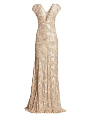 PAMELLA ROLAND Sequined And Crystal Georgette V-Neck Gown in Gold