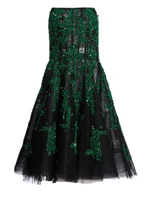 PAMELLA ROLAND Sequin & Crystal Embellished Strapless Fit & Flare Cocktail Dress in Emerald Blue