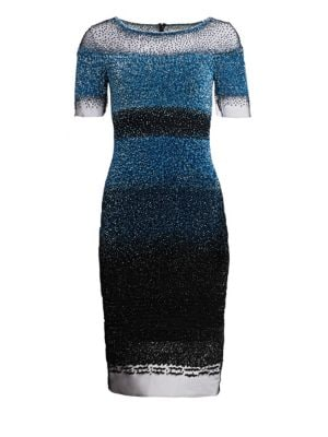 PAMELLA ROLAND Short-Sleeve Ombre Sequined Illusion Dress in Cobalt-Black