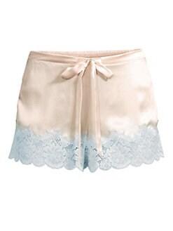 d955eb0d938d Ginia. Lace-Trimmed Silk Sleep Shorts