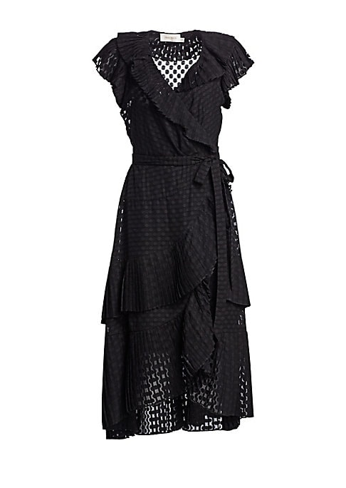 "Image of Beautifully textured wrap dress with ruffle trim in plisse dot finish.V-neck. Flutter sleeves. Wrap waist tie. Tiered ruffle trim. Slip included. Polyester. Dry clean. Imported. SIZE & FIT. Wrap silhouette. About 49"" from shoulder to hem. Model shown is 5"