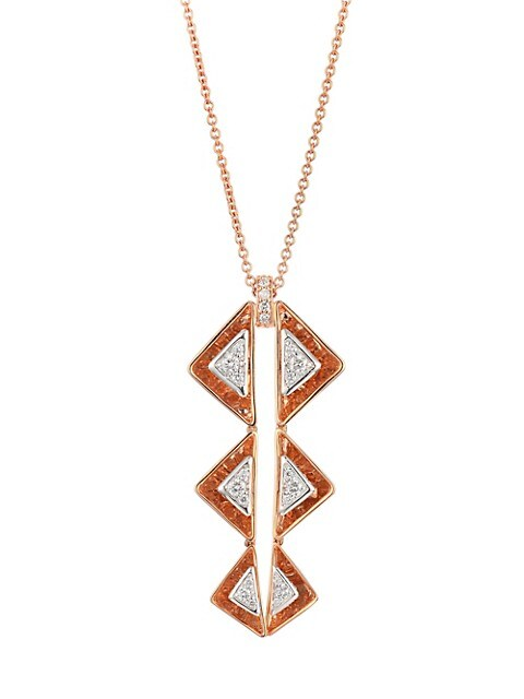 Aura 18K Rose Gold & Diamond Triangle Drop Necklace