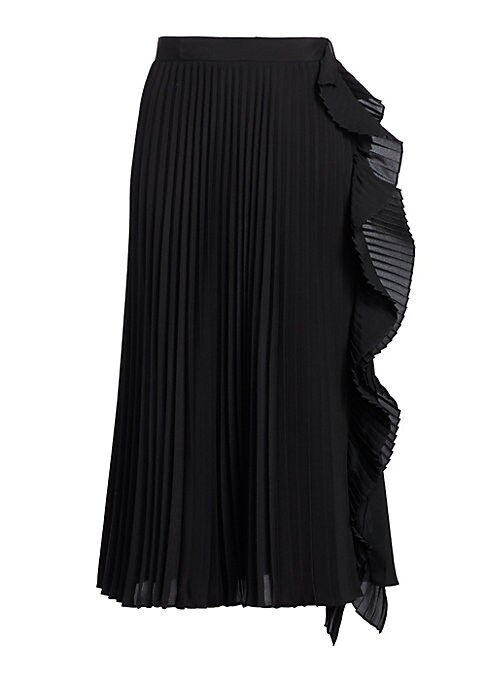 """Image of A pretty ruffle waterfalls down the side of this pleated skirt, adding a playful twist to garment. A midi length adds to the versatility of the skirt. Banded waist. Concealed side zip closure. Polyester. Dry clean. Made in Italy. SIZE & FIT. About 32"""" lon"""