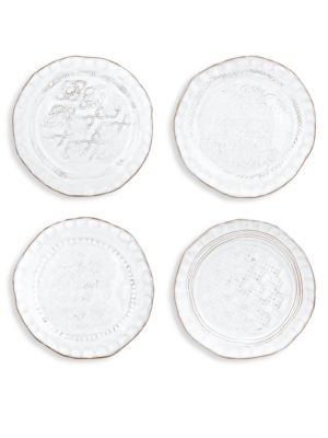 Vietri 4 Piece Bellezza Stone White Assorted Canap Plates Set
