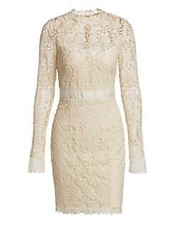 c327eb327e0 Product image. QUICK VIEW. ML Monique Lhuillier. Long Sleeve Lace Cocktail  Dress