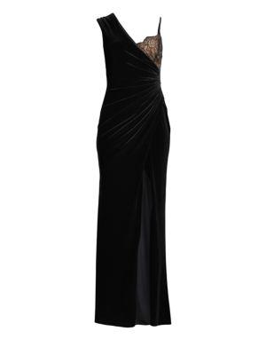 BCBGMAXAZRIA Lace-Trimmed Velvet Gown in Black