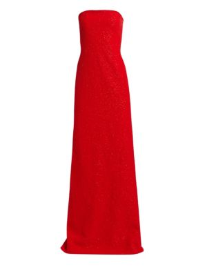 AHLUWALIA Omani Strapless Glitter Gown in Cherry Red
