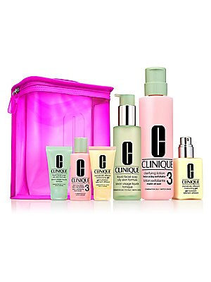 Image of $97 VALUE Custom-fit, 3-Step skin care kit for Combination Oily to Oily Skin. Full sizes and minis plus a travel-ready bag. A $97 value. Liquid Facial Soap cleanses thoroughly, rinses easily. Clarifying Lotion Twice A Day Exfoliator sweeps away dulling fl