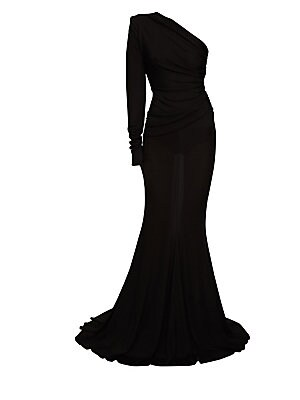 Image of A single padded shoulder acts as a focal point on this ultra-dramatic ruched jersey gown. Pooled hems add to the impact of the piece. Asymmetric neckline One long sleeve Pull-on style Ruched waist detail Pooled hems Lined Viscose/elastane Dry clean Import