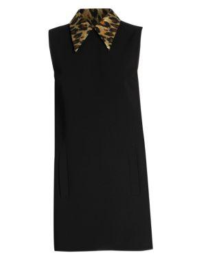Cady Leopard Print Collar Mini Dress by Miu Miu