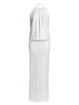 Image of A microcrystal finish adds high-glamour impact to this otherwise simple halterneck gown. Ruching at the neckline and a dropped waist enhance the column silhouette. Halterneck with self-tie closure Sleeveless Scoopback Dropped waist Back slit Pooled hems M