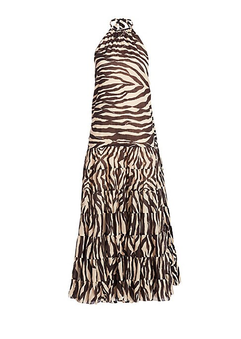 "Image of Airy zebra printed maxi dress in halter neck style. Halter neckline with tie closure. Sleeveless. Concealed back zip closure. Cotton/linen. Hand wash. Imported. SIZE & FIT. Loose silhouette. About 40"" from shoulder to hem. Model shown is 5'10"" (177cm) wea"