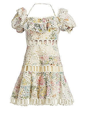 """Image of Alluring floral mini dress with lace overlay and waist cutouts. Off-the-shoulder neckline Self-tie at nape Short sleeves Concealed back zip Shell: Cotton Lace: Polyester Dry clean Imported SIZE & FIT A-line silhouette About 22.5"""" from shoulder to hem Mode"""