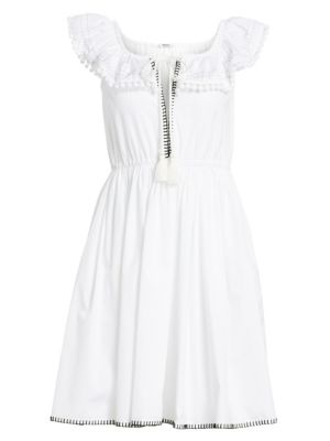 Miu Miu Cotton Poplin Pom-Pom Dress