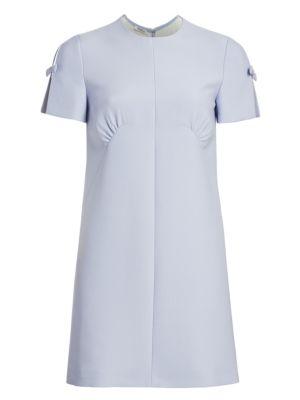 Short Sleeve Bow Mini Dress by Miu Miu