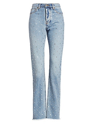 Image of Although renowned for his couture background and 80s-style gowns, Alexandre Vauthier recognizes the needs of the modern woman for casual jeans. Allover crystal embellishments add his signature dose of glamor. Five-pocket style Button closure Fringed hem C