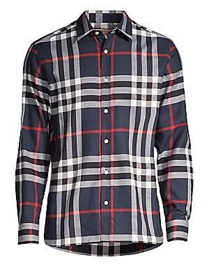 Burberry - Thornaby Check Short Sleeve Shirt - saks.com 7c0f70ef124