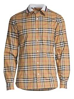 ba2bc25856d3 QUICK VIEW. Burberry. Check Polo-Collar Cotton Shirt
