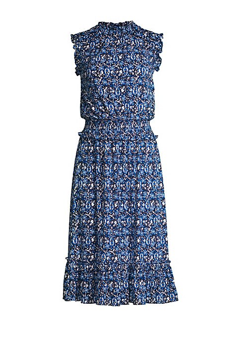 Image of A ruffled high neckline puts a sophisticated spin on this popover flare dress in vivid paisley print. High roundneck. Sleeveless. Pullover style. Ruffle trim. Smocked waist. Flounce hem. Polyester/elastane. Machine wash. Imported. SIZE & FIT. Blouson silh
