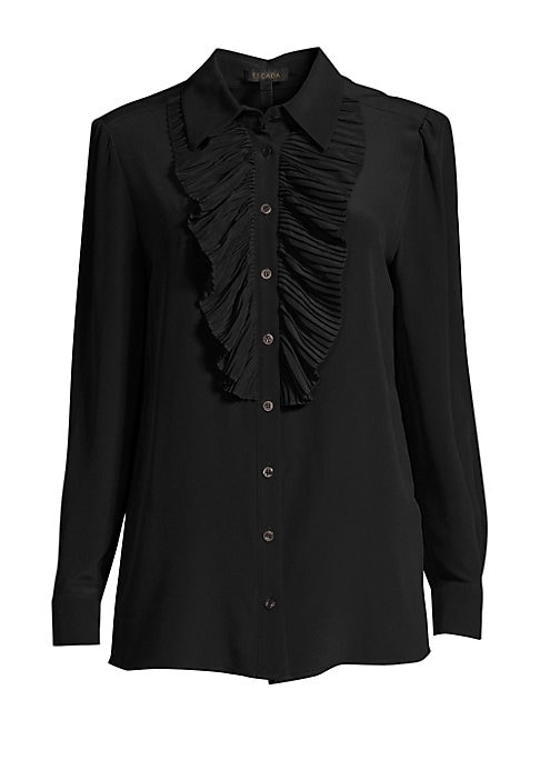 Image of Crafted from luxe silk, this timeless button-down blouse flaunts a plisse pleated bib for a feminine twist. Its collared finish is ideal for teaming with flowy midi skirts or high-rise trousers. Point collar. Long sleeves. Front button close. Pleated bib.