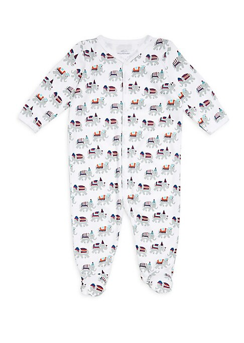 Image of Sweet footie with playful illustrated elephants.V-neck. Long sleeves. Snap closure. Footed. Pima cotton. Machine wash. Imported.