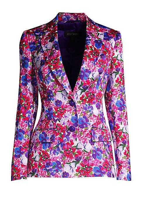 Image of From the Saks It List: Garden Party Florals. Designed in a tailored fit and cut from a unique floral cotton jacquard, this statement blazer is sure to add color to any wardrobe. Pair yours with jeans or office separates with minimal accessories for maximu