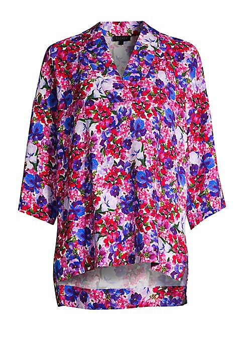 Image of From the Saks It List: Garden Party Florals.A timeless kimono style cut from relaxed stretch knit, this pretty floral print is sure to add color to any wardrobe. Pair yours with jeans or office separates with minimal accessories for a high fashion look.V-