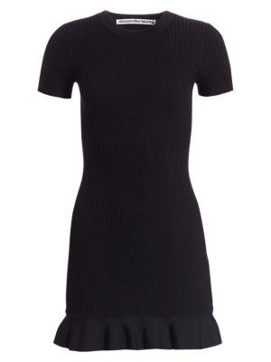 Ribbed Ruffle Hem T Shirt Dress by Alexander Wang