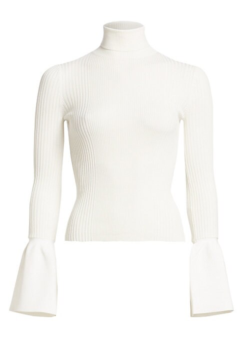 Image of Alexander Wang updates this sophisticated staple with wide ruffled cuffs. City-chic and office-ready turtleneck is crafted in soft rib-knit cotton with a slim fit. Turtleneck. Long sleeves. Wide flared cuffs. Pullover style. Cotton. Cotton/polyamide/elast