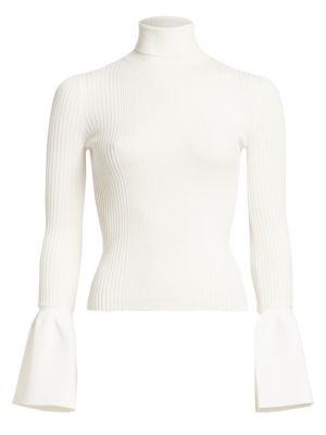 Ruffled Cuff Ribbed Turtleneck by Alexander Wang