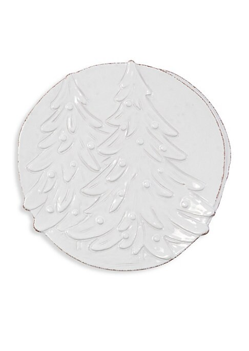 "Image of From the Lastra Holiday Collection. Handcrafted stoneware platter with handles, engraved in Tuscany with a festive and traditional holiday image. Stoneware. Dishwasher, microwave, freezer, and oven safe. Made in Italy. SIZING. Diameter, 14.25""."