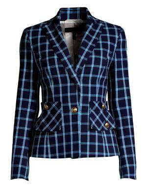 ESCADA Single-Breasted Windowpane Cotton Jacket in Blue