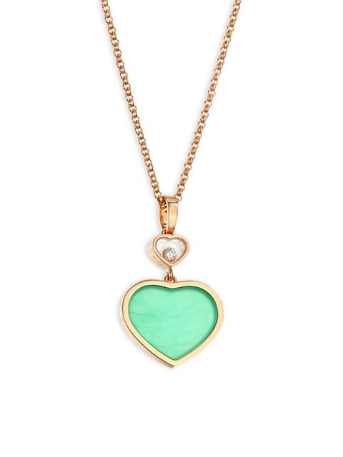 Happy Hearts 18K Rose Gold, Diamond & Chrysoprase Pendant Necklace