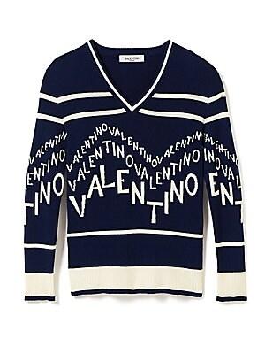 4c15f072613d98 Valentino - Chevron Logo Wool & Cashmere V-Neck Sweater - saks.com