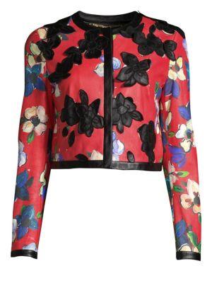 Escada Llooms Floral Leather Jacket