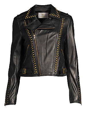 Image of A classic leather moto jacket featuring brass stud trim. Notch lapels Long sleeves with zip cuffs Asymmetric zip front closure Snap button epaulets Zip pockets at waist Cropped length Leather Lined Dry clean Imported SIZE & FIT Cropped moto jacket About 1
