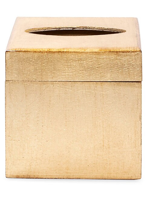 """Image of From the Florentine Wooden Accessories Collection. Gold leaf covers this beautiful hand-carved wooden tissue box, crafted in Florence. Wood. Wipe clean. Made in Italy. SPECIFICATIONS.5.75""""W x 5.75""""L x 6""""H."""