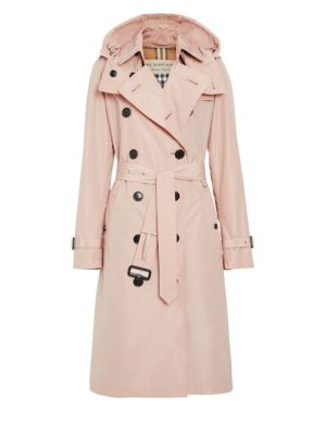 Kensington Taffeta Trench Coat W/ Removable Hood in Chalk Pink