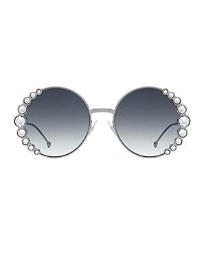 d864b302e6db4 Valentino - 52MM Crystal-Trim Round Sunglasses - saks.com