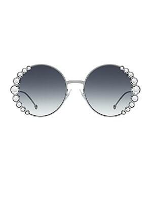 29bf697d014 Valentino - 52MM Crystal-Trim Round Sunglasses - saks.com