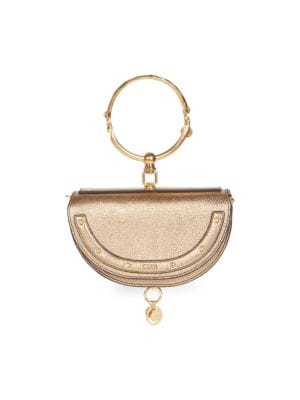 Nile Half Moon Metallic Leather Minaudiere by Chloé