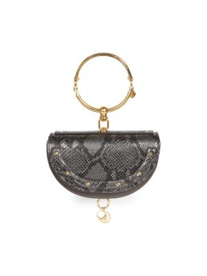 73624c4571a0 Chlo  233  Nile Half Moon Python-Print Leather Minaudiere