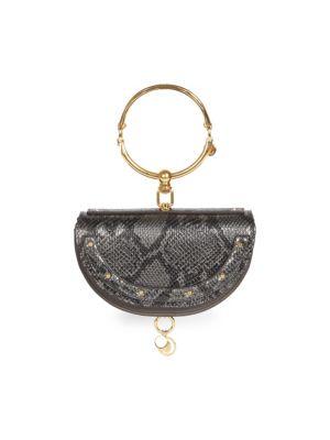 Nile Half Moon Python Print Leather Minaudiere by Chloé