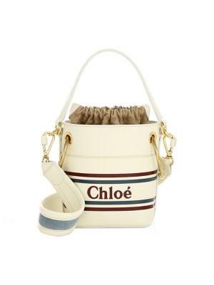 6d761af6e5 medium-roy-striped-leather-logo-bucket-bag by chloé