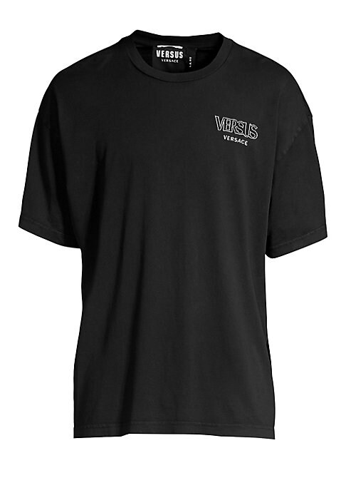 """Image of Signature logo embroidery brands this soft 100% cotton tee cut with drop shoulders. Crewneck. Short sleeves. Cotton. Hand wash. Made in Italy. SIZE & FIT. About 27"""" from shoulder to hem."""