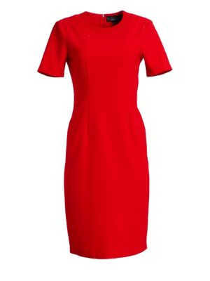 AHLUWALIA Beaded Sheath Cocktail Dress in Cherry Red