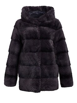 eddd10a7c5 Reversible Mink Fur Hooded Puffer Jacket BLUE JEAN. QUICK VIEW. Product  image