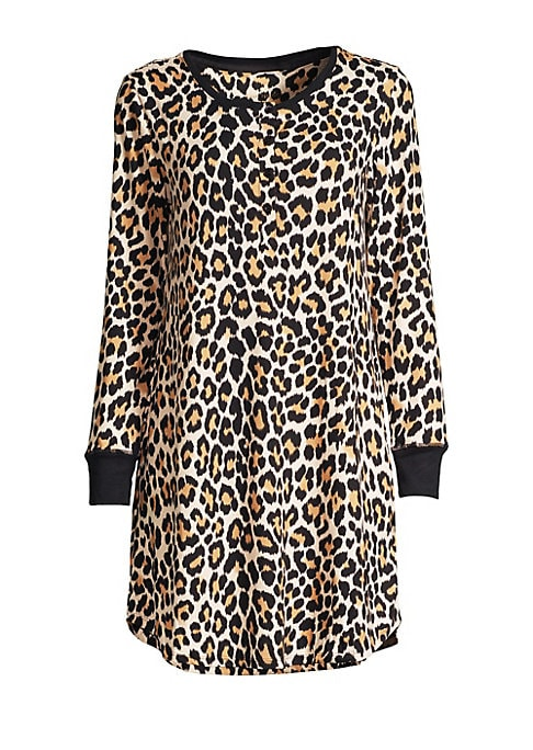 "Image of Sleepwear set matching an animal print sleepshirt with a screen-printed eye mask. Crewneck. Long sleeves. Front button placket. Polyester/spandex. Machine wash. Imported. SIZE & FIT. About 34"" from shoulder to hem."