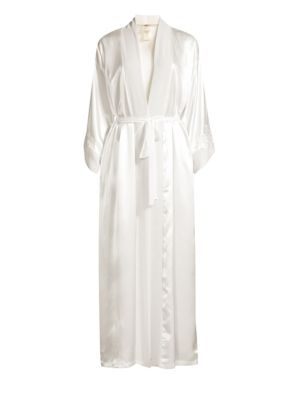 JONQUIL Sutton Embroidered Satin Robe in Ivory