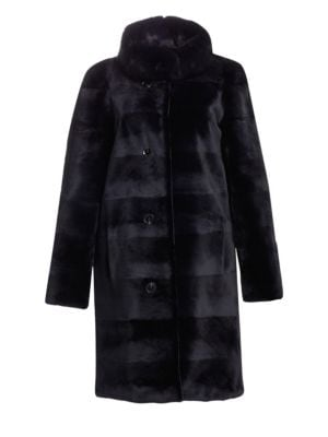 NORMAN AMBROSE Sheared Mink & Sable Fur Coat in Navy
